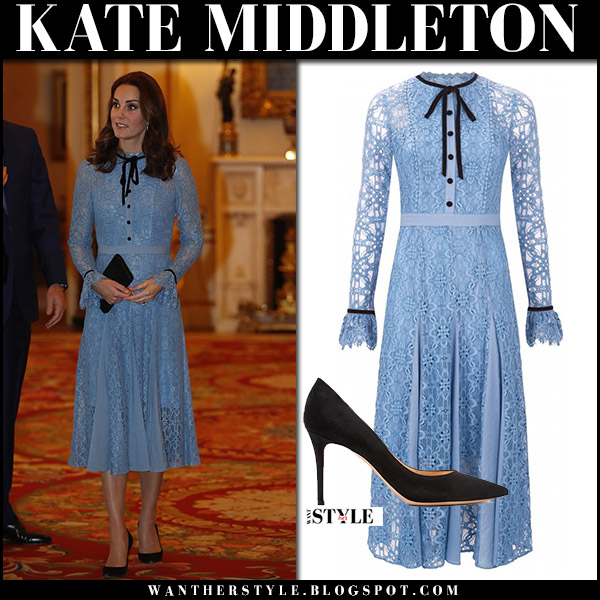 Kate Middleton showing baby bump in  light blue lace dress temperley london at Buckingham Palace october 10 2017 maternity royal fashion