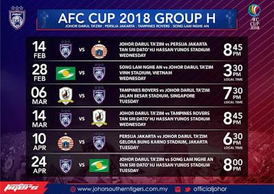 Jadual dan Keputusan Perlawanan Piala AFC 2018