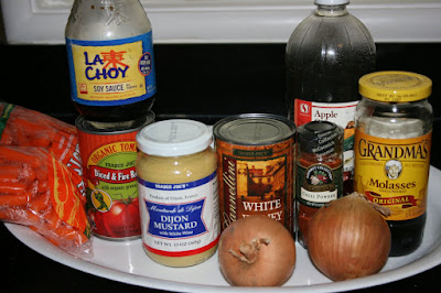 These are the ingredients needed to make baked bean soup in the crockpot slow cooker. A Vegetarian and gluten free delicious and hearty dinner.