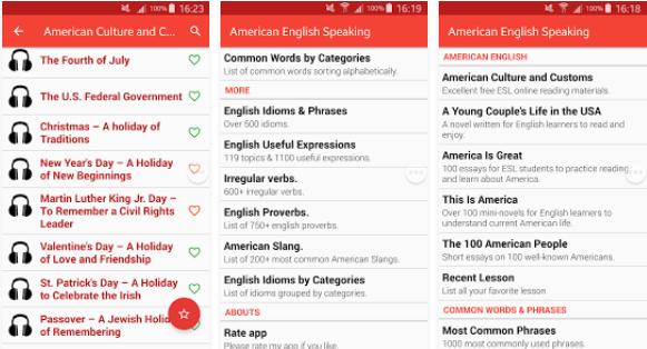 تطبيق American English Speaking لتعليم التكلم باللهجة الأمريكية للأندرويد