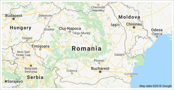 A map showing the country of Romania.