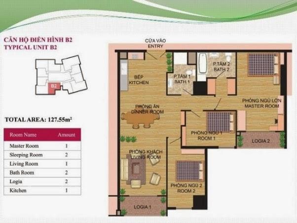 căn hộ B2 ( 127,55m2 ) chung cư Hà Đô Park View Dịch Vọng