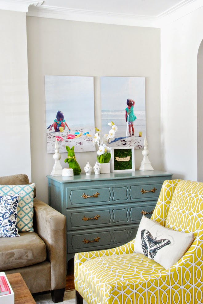 Rambling Renovators | living room blue yellow beachy art