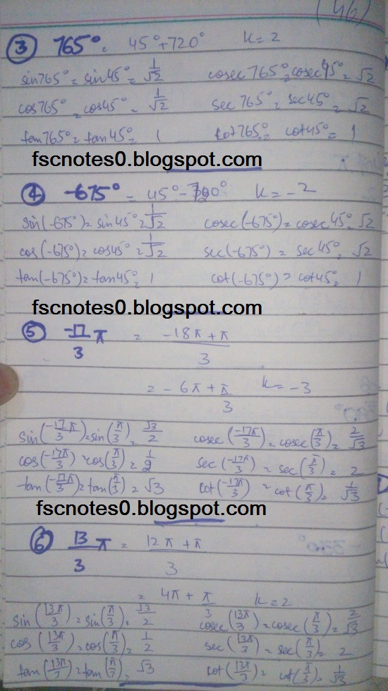 FSc ICS FA Notes Math Part 1 Chapter 9 Fundamentals of Trigonometry Exercise 9.3 Question 6 by Asad Hussain & Ayesha Hussain 1