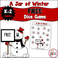 Free Jar of Winter Addition Dice Game