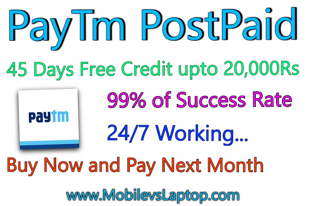 Paytm PostPaid: Credit card Without Documentation