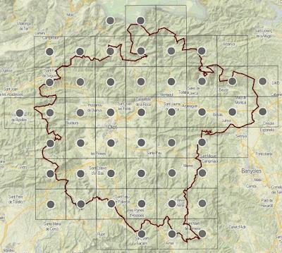 Mapa de distribució de Spiranthes spiralis a la Garrotxa 2016