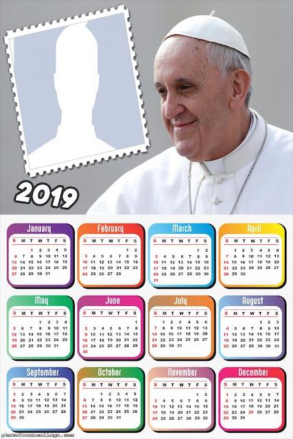 Pope Francis: 2019 Free Printable Calendar.