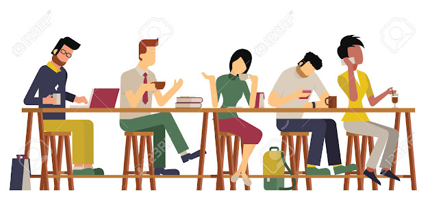 Vector Illustration Of Guests Man And Woman Enjoy Coffee At Wooden Bar  Diverse
