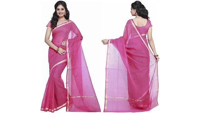 Stylish Sarees Solid, Plain Fashion Kota Cotton, Net Saree  (Pink)
