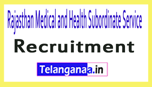 Rajasthan Medical and Health Subordinate Service RMHSS Recruitment