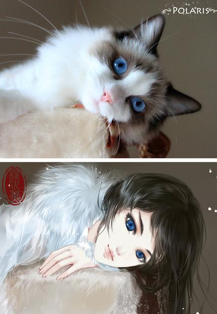 Kot narysowany jako kobieta z anime 09