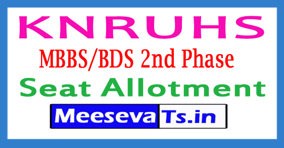 Kaloji Narayana Rao University of Health Sciences MBBS/BDS 2nd Phase Seat Allotment 2018