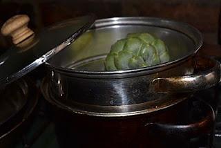 Globe artichoke in steamer