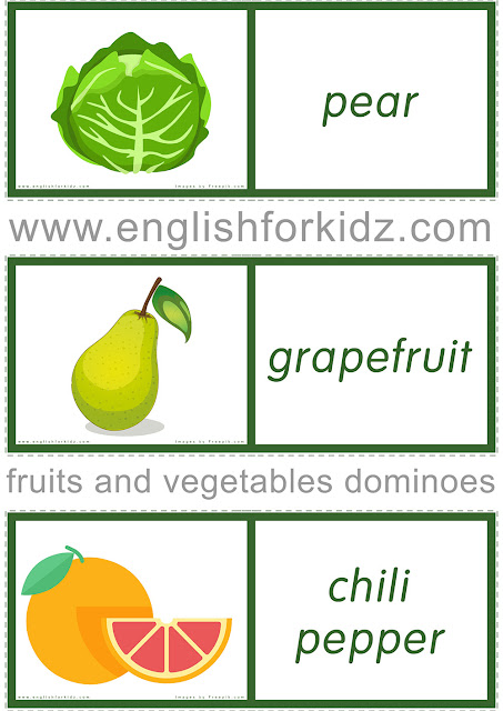 Free printable fruit and vegetables domino game