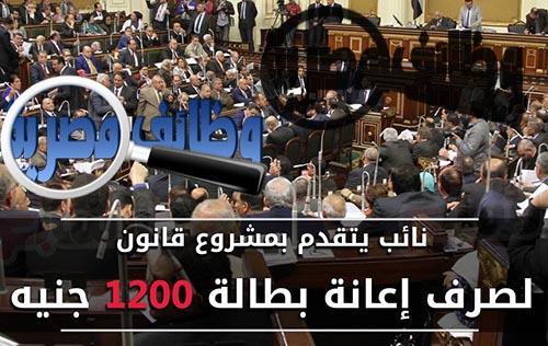 مجلس النواب ,اعانة بطالة ,1200 جنية ,سبتمبر 2016 ,عبدالمنعم العليمى ,مشروع قانون صرف اعانة بطالة للشباب ,ثلاث سنوات ,فرصة عمل ,مناقشة