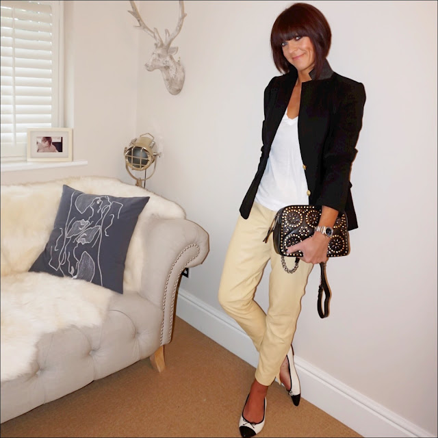 my midlife fashion, j crew rhodes blazer, j crew vintage cotton long sleeve v neck t shirt, village england penshaw studded leather cross body bag, marks and spencer leather jogger style trousers, two tone pointed ballet pumps