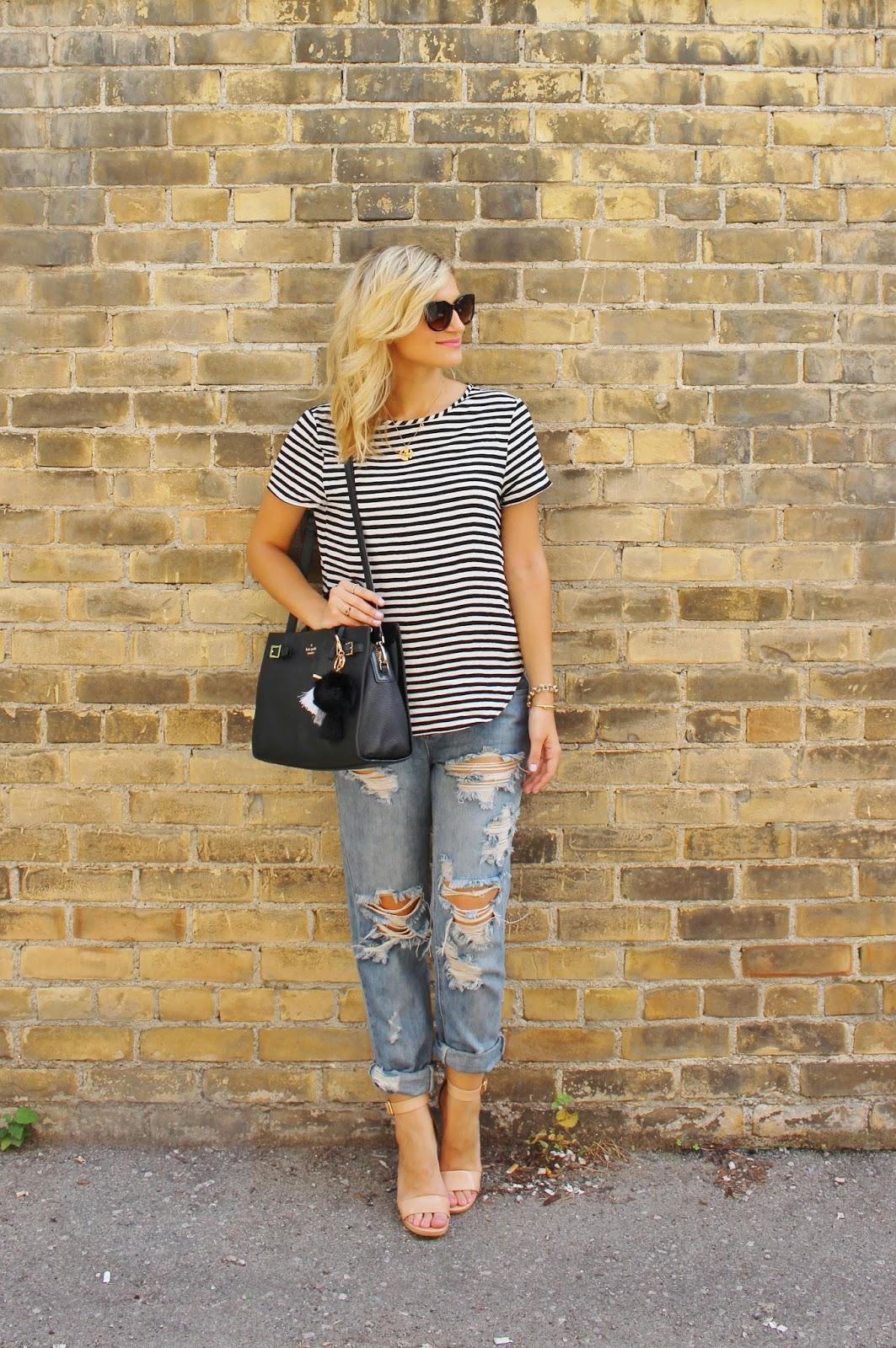 Bijuleni, stripe top,distressed jeans and Kate Spade Tote