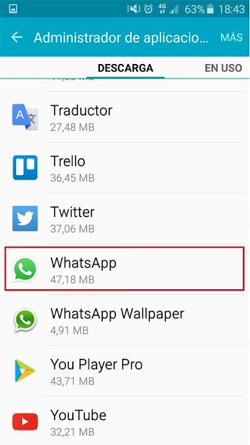 ajustes de la aplicación whatsapp en android