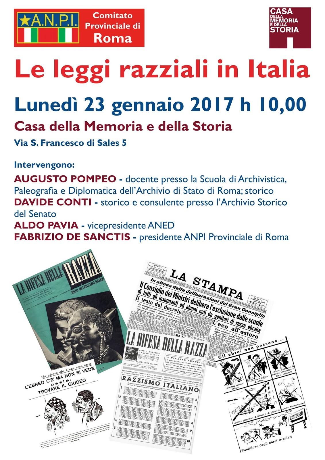 A n p i provinciale di roma le leggi razziali in italia for 3 case di storia in california