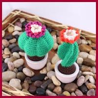 pequeños cactus amigurumi