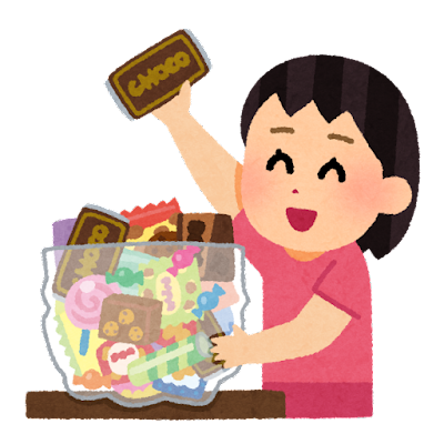 お菓子の詰め放題のイラスト