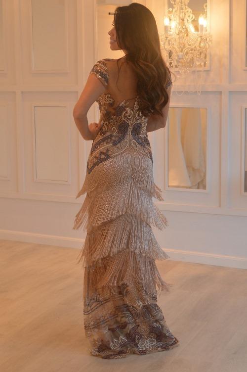 vestido franja