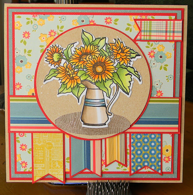 papertreyink sunflower bouquet, birthday card