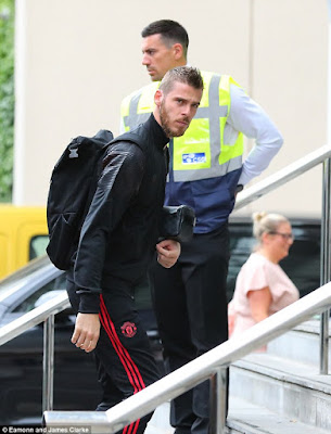 Manchester United stars arrive at Lowry Hotel as the countdown to their Friday night Premier League opener against Leicester continues