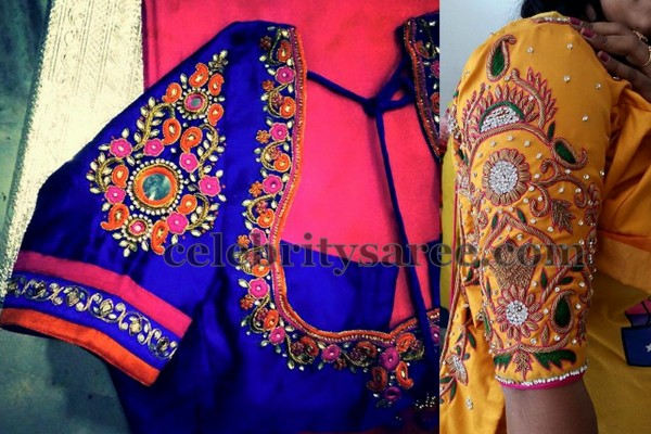 Blouse Design Elbow Length Maggam Work