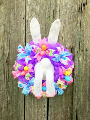 amigurumi crochet Easter Bunny wreath decoration