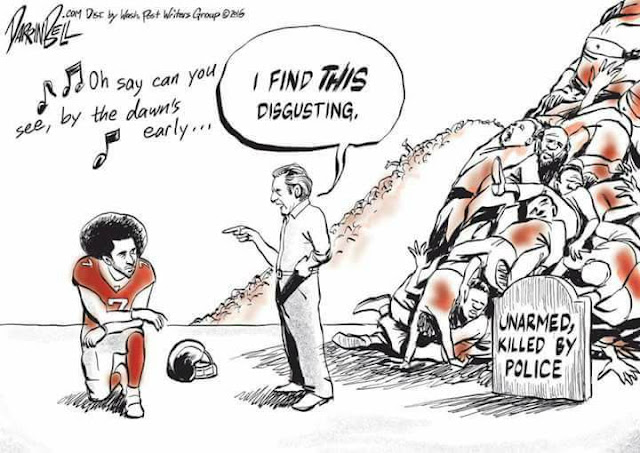 Colin Kaepernick kneeling while white man standing in front of pile of bodies labeled