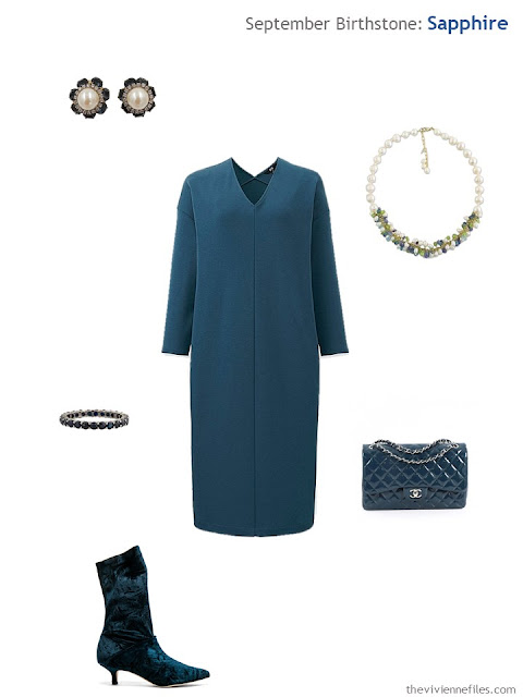 teal dress with sapphire jewelry