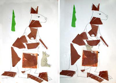 как рисовать кенгуру для детей, как рисовать кенгуру, мама кенгуру