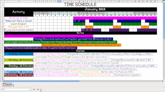 Download Template Time Schedule Gratis
