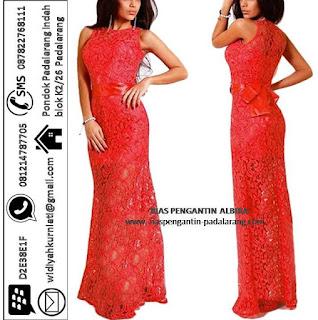 Penyewaan Gaun Pesta Bahan Brokat Warna Merah GP1004 di Cimahi