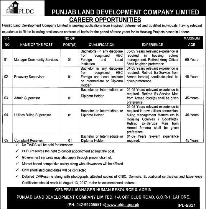 Jobs In Punjab Land Development Company Lahore 27 Jul 2017