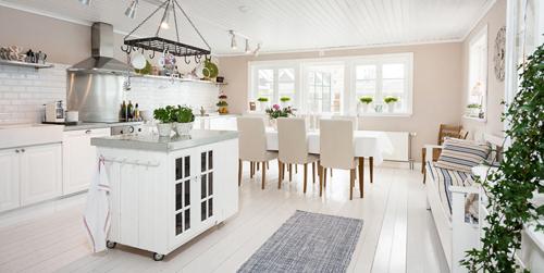 Open Plan Bright White Kitchen Diner