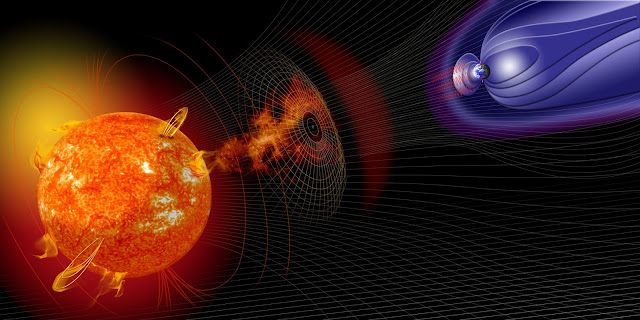 Artist illustration of events on the sun changing the conditions in Near-Earth space. A new study finds daily U.S. economic cost from solar storm-induced electricity blackouts could be in the tens of billions of dollars. Credit: NASA.