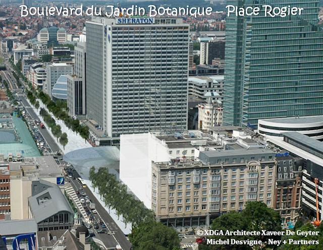 Place Rogier & Boulevard du Jardin Botanique - Perspectives d'avenir - STRIP - Promenade arborée, réservée aux piétons et aux cyclistes, reliant la place au boulevard - Auvent débordant sur le STRIP - Bruxelles-Bruxellons