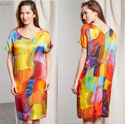 vestido de seda de colores