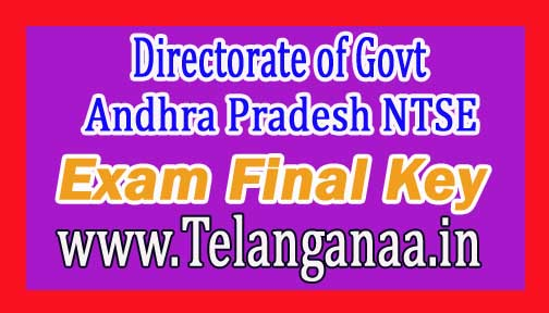 Directorate of Govt Andhra Pradesh NTSE Nov 2016 Exam Final Key