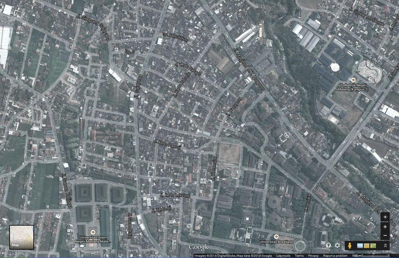Kota Malang - Permukiman Sekitar Universitas Brawijaya (Google Map Tahun 2014)
