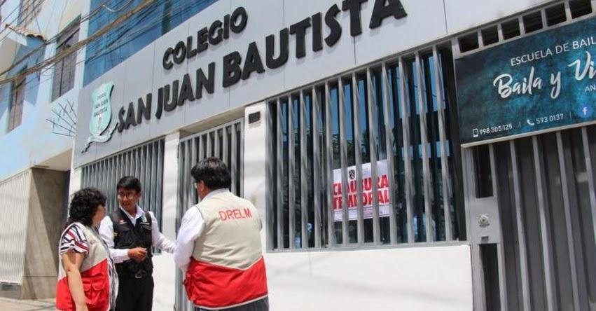 Autoridades clausuran colegio «bamba» en San Juan en Miraflores