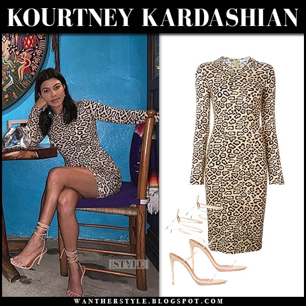Kourtney Kardashian in leopard print givenchy fitted dress and strappy sandals night out outfit