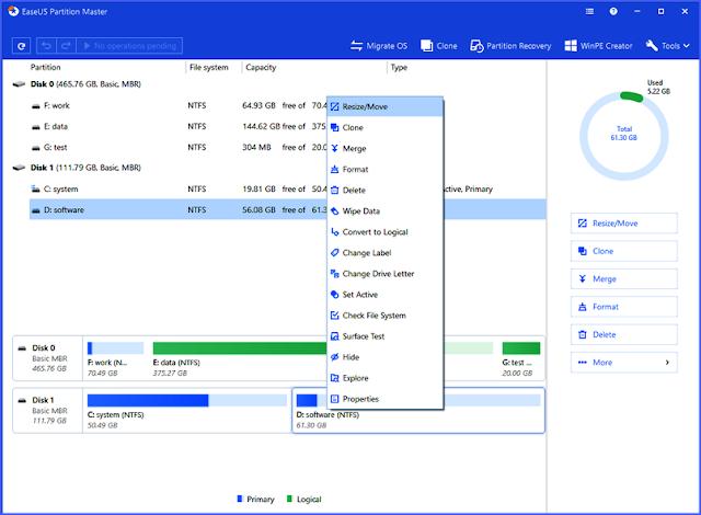 الاصدار الجديد من EaseUS Partition Master المهم لتقسيم القرص الصلب وزيادة مساحته وتنظيف حاسوبك