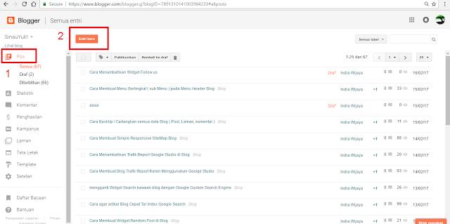 Blogger,entri baru,postingan baru,membuat postingan,sinauyuk.com