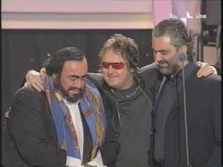 Andrea Bocelli (right) with the late Luciano Pavarotti and rock  musician Zucchero at one of Pavarotti's fund-raising events