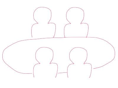 アイコン 「ミーティング」 (作: 塚原 美樹) ~ 手前側の二人の間にテーブルの残りの線を描く