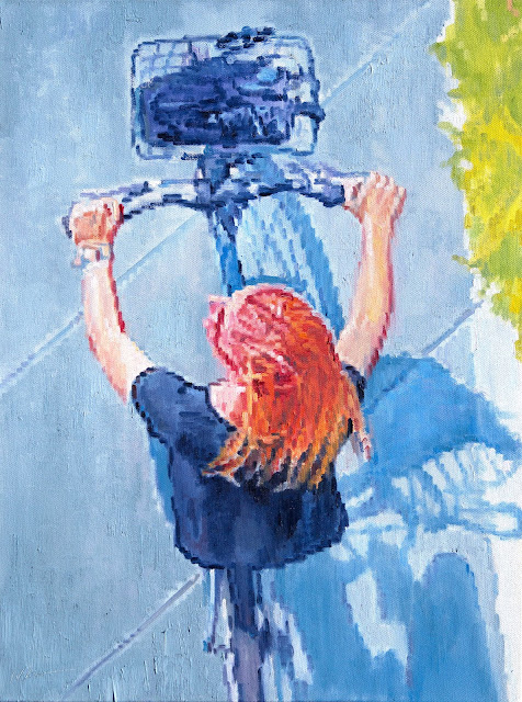 http://www.ugallery.com/oil-painting-aerial-view-of-strawberry-blonde-riding-bicycle